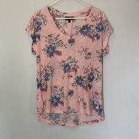 Bobeau Top Size Large Pink Blue Floral Print Womens V Neck Short Sleeve