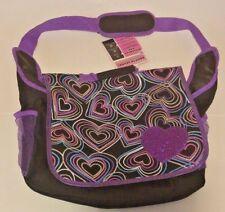 Back To School Messenger Laptop Bag Glitter Purple Heart Black Multi-color Print