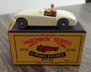 LESNEY MATCHBOX NO19 MG A SPORTS CAR GMW IN ORIGIONAL BOX RARE