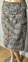 Debbie Shuchat Womens Knee Length Pencil Skirt UK Size 8 Snake Print Black Beige