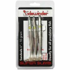 "Sidewinder SUPER SLIMS Sandeel Bass Fishing Lures natural 6"" - 10g - 3 Per Pack"