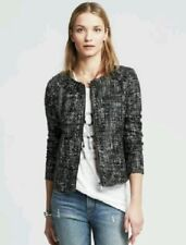 Banana Republic Women's Coated Tweed Zip Front Jacket Blazer Size 10 Petite