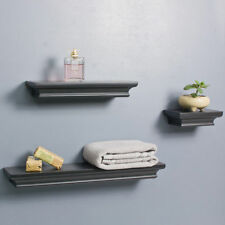 Set of 3 Traditional Crown Floating Wall Mount Shelf Photo Display Storage Black