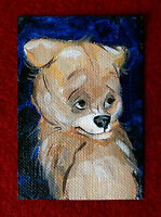 "Original art by Bastet ""Bear Cub"" OOAK hand painted ACEO"