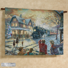All Aboard For Christmas Train Fiber Optic Tapestry Wall Hanging ~Thomas Kinkade