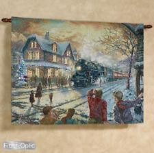 All Aboard For Christmas Train Fiber Optic Tapestry Wall Hanging ~Thomas Kinkade
