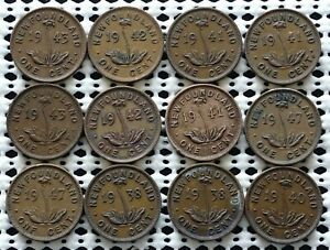 Newfoundland Canada Small Cents Coin Lot of 12 ♚ King George VI ♚ Nice Group