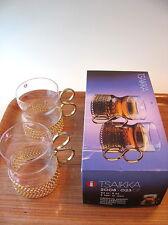 Vintage Set of 2 Tsaikka Glasses Gold Handle Timo Sarpaneva Iittala Finland