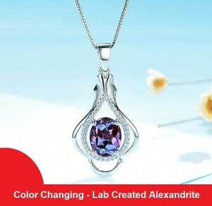 3.0ct Alexandrite Gemstone Pendant Necklace Solid 925 Sterling Silver Women Gift