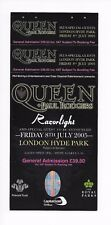 QUEEN : Complete Hyde Park 2005 Concert Ticket + Paul Rodgers Stubs Attached