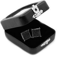 Screw Back Stud Earrings L E60 Men's Black Princess Cut Square Cz Basket