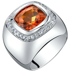 Men's 7.50 carats Created Padparadscha Sapphire Ring in Sterling Silver