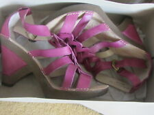 Hush Puppy strappy high heeled purple leather sandals  UK 8