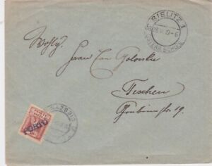 Poland-1919 Underpaid Bielitz cover to Teschen paid with 10 h postage due stamp