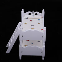 12th Doll House Miniature Bunk Bed Furniture Set Kids Role Pretend Play Toys