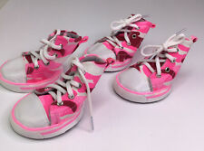 Pet Set Of 4 Dog Shoes High Tops Sneakers Pink Camouflage Size 6