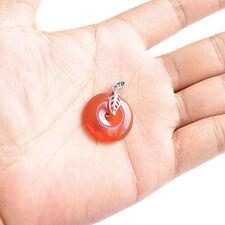 Mini Pendentif Pi Chinois en Agate Rouge serti d'Argent 925