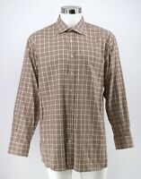 Peter Millar Dress Shirt Size Large Pink Brown Plaid Cotton Button Front Mens