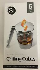 5Pc Set Stainless Steel Ice Cubes Chilling Stones Rocks Reusable with Tong Nwt