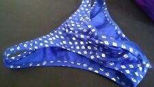 Mens Swimsuit Custom Back Spandex Unlined s m l or xl Made USA Royal Silver UAA