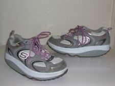 Skechers Shape-Ups Gray Leather & Nylon Pink Sneakers Size 7.5 1/2 Shoes