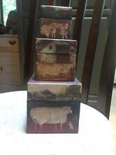 Bob's Boxes Primitive Set of 3 'Farmyard Sheep' R A Lang Ellen Stouffer Nesting