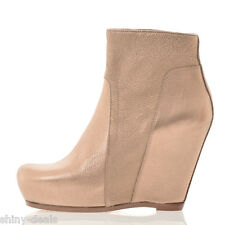 RICK OWENS New Woman Pink Leather CLASSIC WEDGE Shoes Boots Size 41 ita $1160