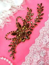 "Bronze Embellishment Floral Vine Gold Metal Rhinestone Applique 7.5"" (XR119-bz)"