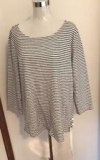 Ladies Size 18 Off White and Navy Stripped Cotton  Top With Side Lace Up Trim