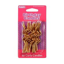 Gold Curly Cake Candles - Birthday Party Celebrations