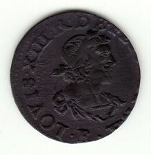 French Colonial, nice 1639 E  copper double tournois