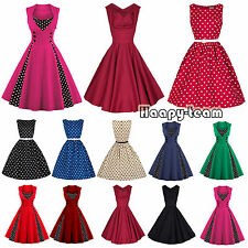 50s 60s Retro Polka Dots Rockabilly Housewife Pinup Flared Swing Tea Dress Party