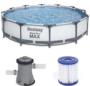 BESTWAY STEEL PRO MAX 366 x 76cm - Gartenpool Schwimmbecken Set mit Filterpumpe