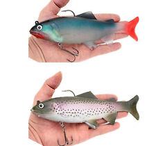 2PCS Soft Silicone Fishing Lures Big Game Shad Swimbait Rigged Soft Bass Swim