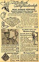 1948 Print Ad of Cowboy Rodeo Kerchief Western Lariat Bucking Bronco Neckerchief