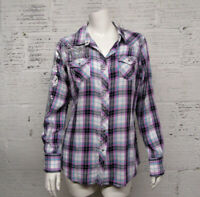 Ariat Womens Size M Embellished Western Snap Front Long Sleeve Plaid Shirt