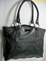 Claudia Firenze Italy Black Pebbled Leather Satchel Bag Shoulder Bag Lg Tote Exc