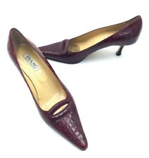 Isaac Mizrahi Red Croc Pumps Sz.9.5M Pointed Toe High Heel Shoes Made ITALY SH29
