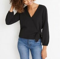 NEW Madewell Texture & Thread Women's Black Crepe Wrap Top Size X-Small XS