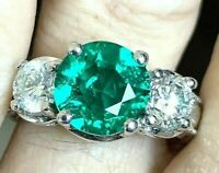 Vintage 14k Gold 4.3tcw Deco 3ct Emerald 1.3ct Si1 Diamond Ring