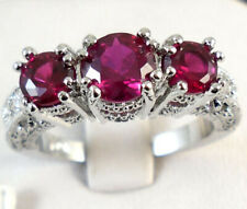 10KT White Gold Filled Rose Pink Sapphire Women Wedding Band Ring Jewelry Size 8