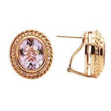 14K ROSE GOLD MILGRAIN PAVE DIAMOND & PINK AMETHYST STUD BUTTON EARRINGS