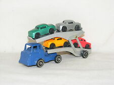 VINTAGE BARCLAY TRANSPORT BLUE CAB & TRAILER W/WHITE WALL TIRES, MODERN SERIES