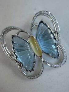 ESTATE DIAMOND CITRINE BLUE TOPAZ 18KT WHITE GOLD BUTTERFLY PIN PENDANT #S1284.1