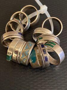 13 Stück Silberringe 835 bis 925 Sterling Silber Ringe in schönem Design