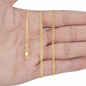 """14K Yellow Gold Solid 2mm-7.5mm Gucci Anchor Mariner Link Chain Necklace 16""""-30"""""""