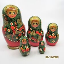 9 Pc Russian Nesting Dolls Matryoshka Handpainted Artist Signed Red Green Gold