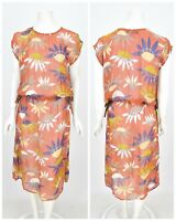 Womens Gudrun Sjoden Sheer Dress Tunic Multicolor Floral Print Summer Size M