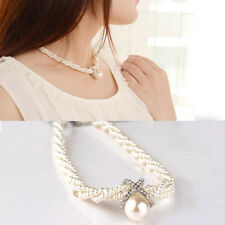 Fashion Women Choker Chunky Chain Artificial Pearl Bib Necklace Pendant Gift