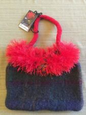 Artisan Handmade Felted Wool  Blue With Red  Fringe Handbag Purse